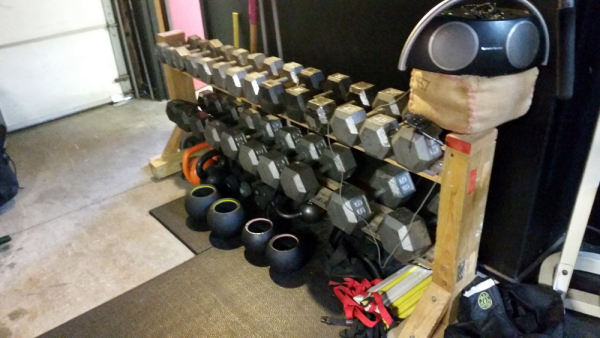 Dumbells, Rogue Thompson Fatbells, and Kettlebells