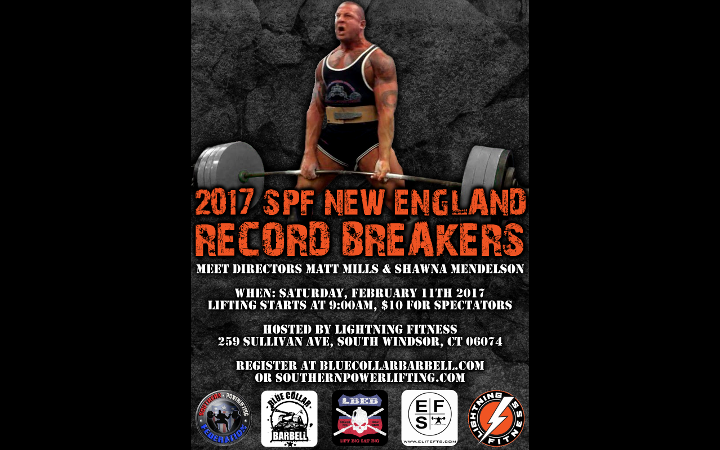 Upcoming Meet – 2017 SPF New England Record Breakers, Hosted by Lightning Fitness