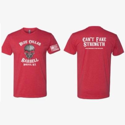 Red OG Blue Collar Barbell T-Shirt